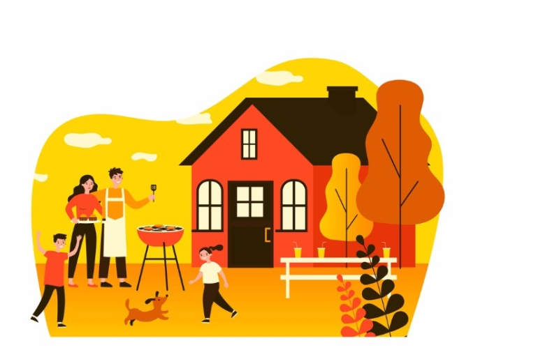 Happy-family-doing-barbecue-at-garden-flat-vector-illustration-vector-id1267460539